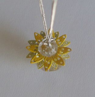 vintage sunflower crystal necklace