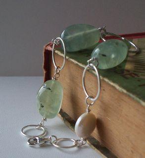 silver quartz and pearl bracelet $44 on etsy